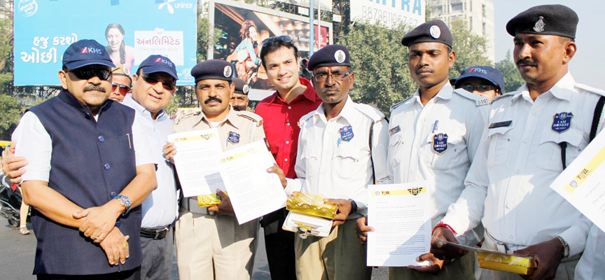 Traffic police officers across Ahmedabad felicitated by Traffic Action Force